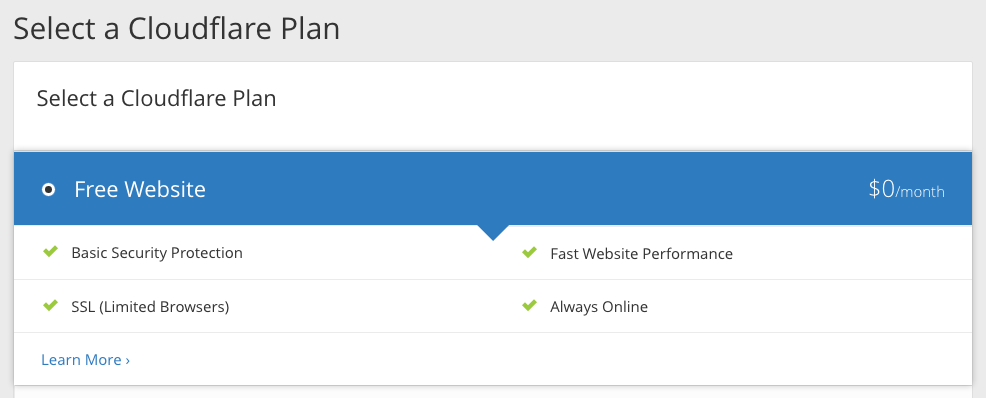 Select Cloudflare Plan